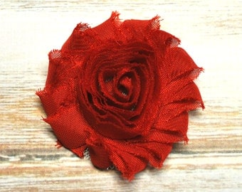 "2.5"" Scarlet Red shabby flower trim - frayed chiffon - rose flowers by the yard - JT Red"