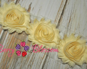 "2.5"" Cream shabby flower trim - frayed chiffon - rose flowers by the yard - JT cream"