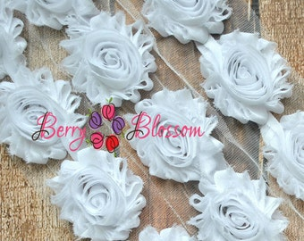 "2.5"" White shabby flower trim - frayed chiffon - rose flowers by the yard - JT White"