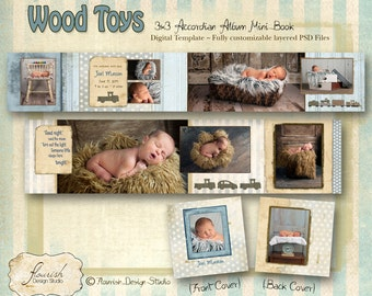 INSTANT DOWNLOAD 3x3 Mini Accordion Album template - Wood Toys Baby Birth Announcement Album