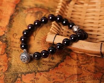 925 sterling silver garnet bracelet 6525