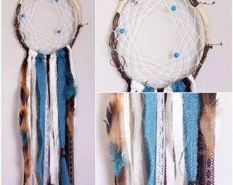 Turquoise and Ivory Dreamcatcher