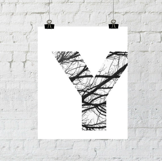 Scandinavian Art, Nordic Design, Monogram Letters Wall Art, Black and White Photography, Tree Branch, Instant Download- Adoption Fundraiser