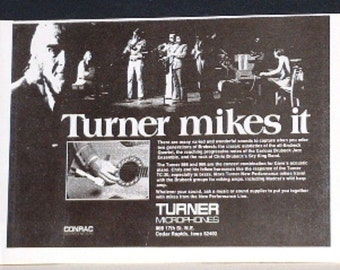 Dave Brubeck and family use Turner microphones on stage 1974 photo print Advertisement