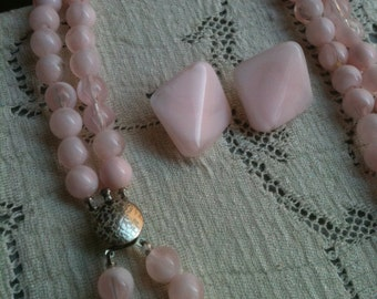 Pale Pink Double Strand Pearls and Earrings