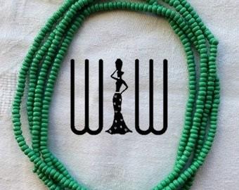 Prosperity Green (Small Beads) African Waist Beads