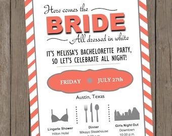 Printable Bachelorette Invitation - Melissa Coral