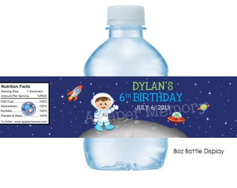 Space Astronaut Water Bottle Labels DIY Printable