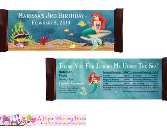 My Little Mermaid Candy Wrapper - DIY Printable