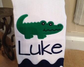 Personalized Alligator Burp Cloth, boy burp cloth, baby gift, shower gift