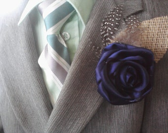 Mens Boutonniere Ribbon Rose Boutineer  Lapel Flower Wedding Party Corsage Buttonhole