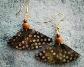 Olive small unique african tribal print boat shaped earrings