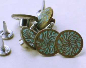 YKK Jeans buttons with turquoise swirl set of 5