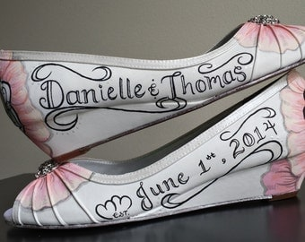Pink Floral Wedding Shoes