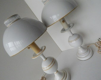 White Toleware Boudoir Bedroom Lamp - Pair of Two - Cottage Style