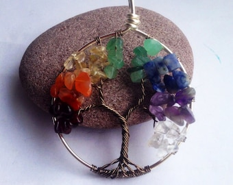 Chakra tree of life wire work necklace