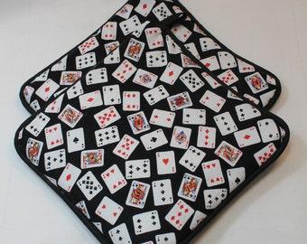 "Pot Holders/Hot Pads - ""Deck of Cards"" w/Black Trim - Designer - Thick - Kitchen/Housewares Item - Gifts under 10"