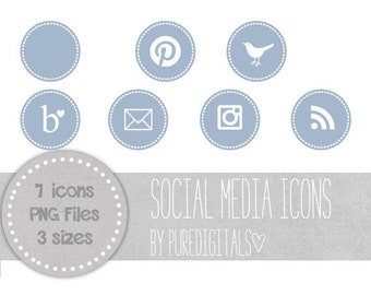 Blue Social Media Icons, Blog Buttons, Cute Social Media Buttons, Blue Blog Buttons, Website Icons