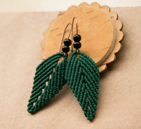 Items Similar To Green Leaves Macrame Earrings With Black