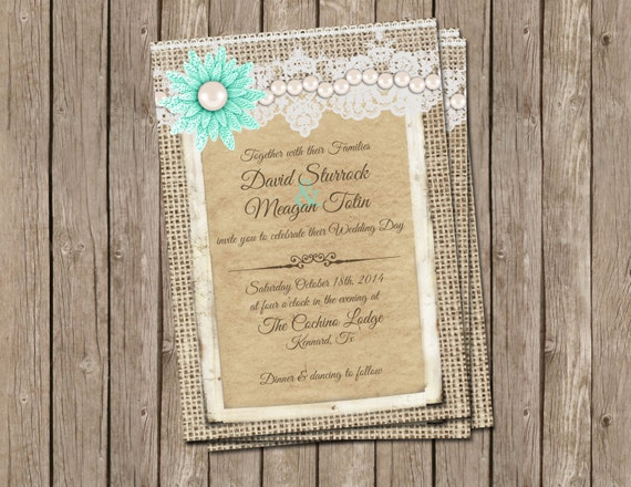 Wedding Invitations Lace And Pearl: Rustic Wedding Invitation With Burlap Lace Pearls And
