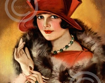 Art Deco Glamour Lady Print, by Earl Christy, Jazz Age Red Hat, Wearing Fox Fur, Gloves, Jewelry, 1920s, Giclee Art Print, 16x20 portrait