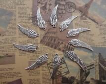 2 colors choice--set of 20--metal pendant-metal charm-metal Angel Wing charm--30x10mm---MPC3027-20
