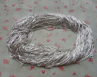 100pcs--1.2mm width--17 inches Shiny Silver Metal Link Necklace Chain--MN3102-100