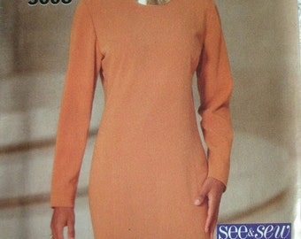 Misses Misses Petite Dress Size 12-14-16 See & Sew by Butterick Vintage 1994 UNCUT Pattern Rated EASY to Sew.