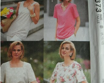 Misses Tops Sizes 8-10-12 McCalls Woman's Day Collection Pattern 6373 1 Hour Tops UNCUT Pattern 1993