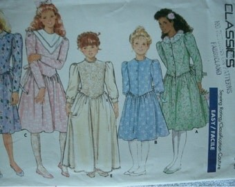 Girls Party Dress Size 4-5-6 Butterick Classics Pattern 5858 Rated Easy to Sew  Vintage UNCUT Pattern 1987