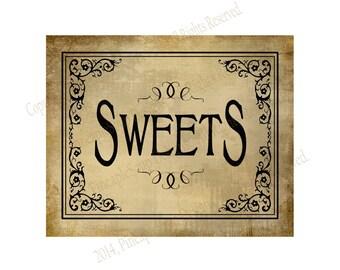 SWEETS - Printable Wedding Dessert bar sign - 5x7, 8x10 or 11 x 14 - instant download digital file - DIY - Vintage Black Tie Collection