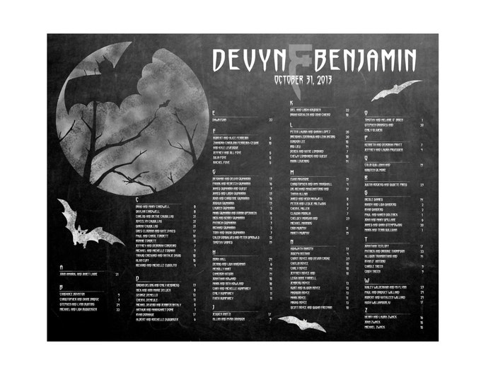 Halloween Wedding Seating Chart - Downloadable and PRINTABLE file - Custom