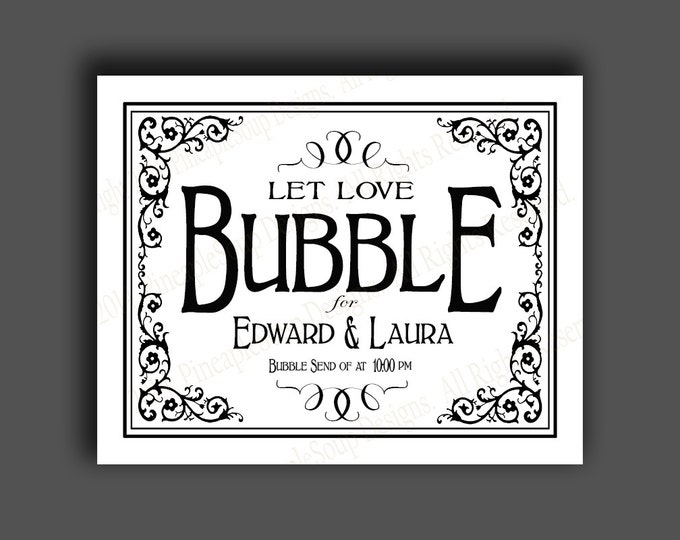 PERSONALIZED Bubble Send Off Wedding sign - DIY PRINTABLE Vintage style - Traditional Black Tie Collection
