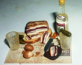 Dollhouse miniature back in the USSR,bottle,glass,alcohol,vodka 1:12