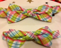 Spring Pastel Stripe Custom Bow Tie Set a For Daddy & Son or Two Brothers