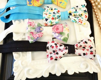 4 Infant and Toddler Flower Cotton Bow Headbands