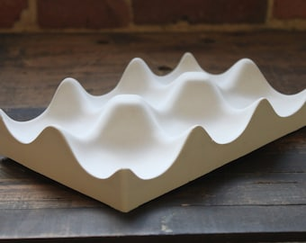 White Concrete Hexi Bowl. Discontinued/Factory Second