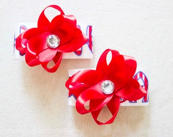 4th of July hair bows, Red and White USA and Stars flower hair bow