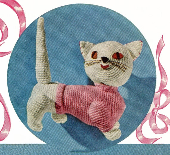 CUTE CROCHETED CAT Pattern - 4 Ply Worsted Weight Yarn - Sweet Stuffed ...