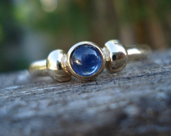 SAPPHIRE engagement ring, unusual cabochon sapphire, alternative engagement sapphire promise ring, 9ct 9k gold ring, size  6 7 8 9 10 11 12