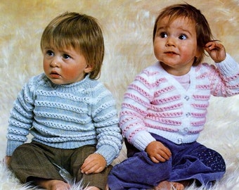 Baby V-neck Cardigan and  Jumper in DK 8 ply yarn  for sizes 18 to 22 Inches -  Vintage Knitting pattern - PDF Instant Download