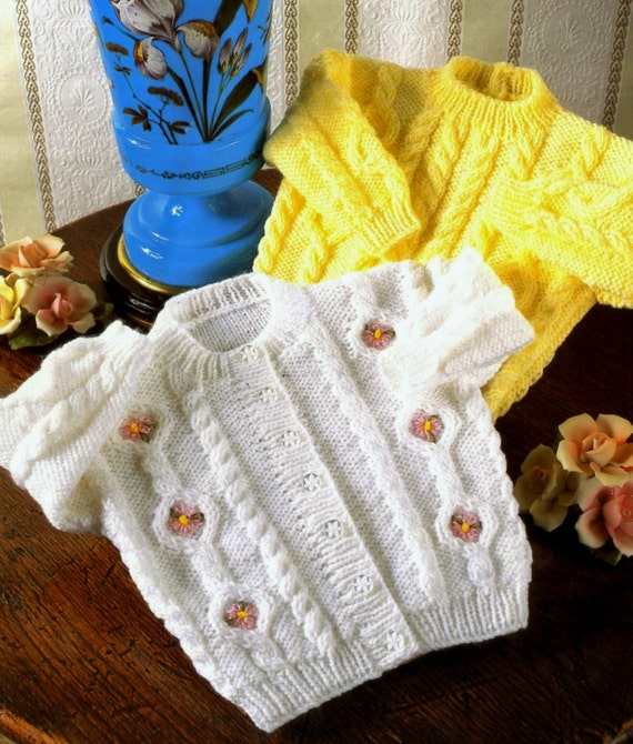 Knitting Pattern Cardigan 8 Ply : Baby Cardigan and Jumper with cables in DK 8 ply yarn for