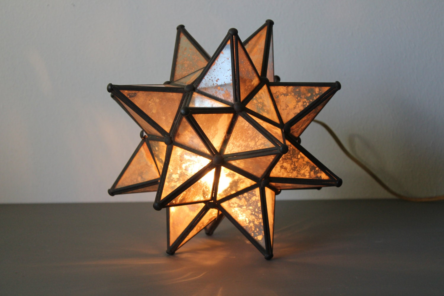 Moravian Star Lamp Boho Chic Antiqued Mirror Stained