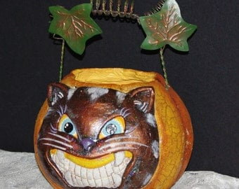 Halloween Pumkin with Scary Black Cat for your Holloween Decoration, 1970s