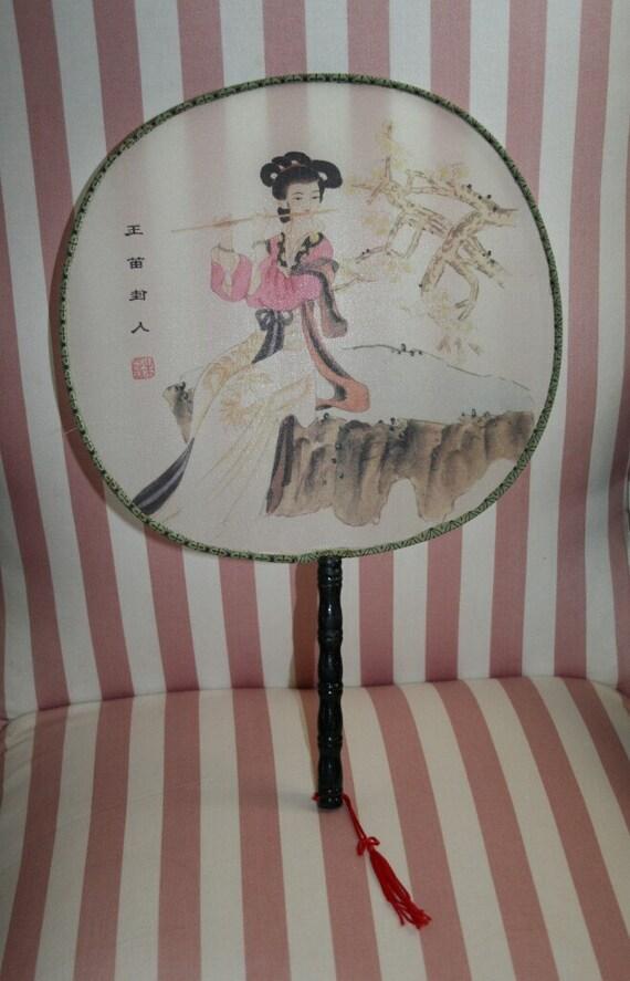 Vintage oriental silk paddle fan with handpainted geisha girl - Japanese paddle fan ...