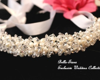 crystal pearl headband, wedding pearl headband, wedding headband, bridal pearl headband, ribbon wedding headband