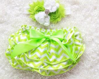 lime green chevron baby Girl headband and Ruffle Bum Baby Bloomer,lime chevron Diaper Cover, Ruffle Bum, Newborn Headband Set - Photo Prop