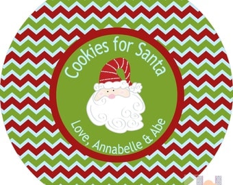 Personalized Santa Cookie Christmas Plate. Start a FUN holiday tradition with a plate customized with your family name. Great for gifts!!