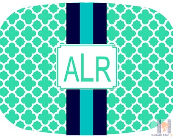 Modern quatrefoil green navy aqua monogrammed platter.  The perfect gift- entertain with style! Dishwasher safe! Custom colors available!