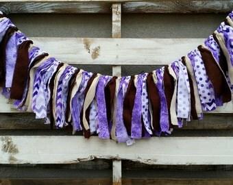 Shabby Chic Purple Cheveron Rag Garland, Fabric Banner, Baby Shower Decor, Photo Prop,Backdrop Garland, Rustic Wedding Decor, Home Decor